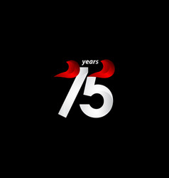 75 years anniversary celebration white and red vector