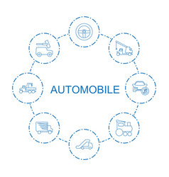8 automobile icons vector image