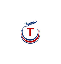 Airplane logo initial t vector