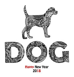 animal and dog text handdrawn card vector image