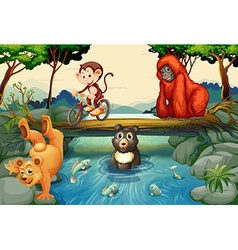 Animals by the river vector image