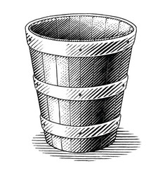 antique engraving basket hand draw vintage vector image