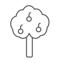 apple tree thin line icon farm and garden fruit vector image