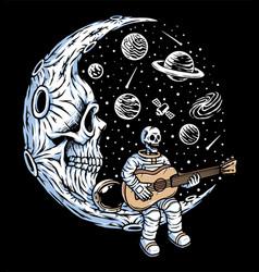 Astronaut playing guitar on skull moon vector
