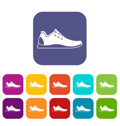 Athletic shoe icons set vector