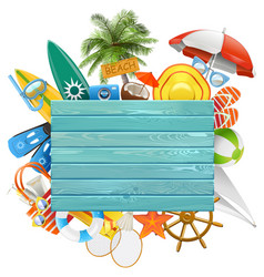 Beach concept with blue board vector