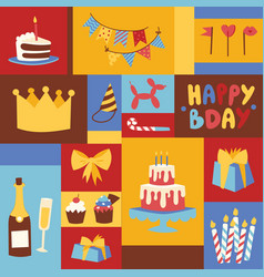 birthday party anniversary cartoon kids vector image
