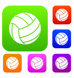 black volleyball ball set color collection vector image