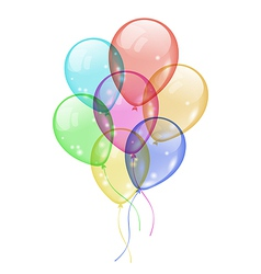 Bunch colorful balloons isolated on white vector image