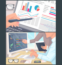 business statistics and analytics color poster vector image