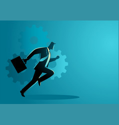 Businessman running with briefcase vector
