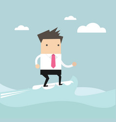 businessman surfing on the wave vector image