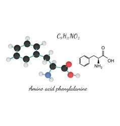 C9H11NO2 amino acid Phenylalanine molecule vector image