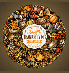 cartoon doodles happy thanksgiving day vector image