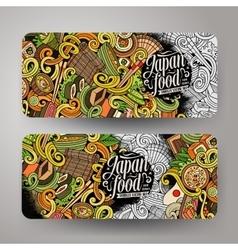Cartoon doodles japanese food banners vector