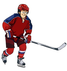 cartoon hockey player in the red form with a stick vector image