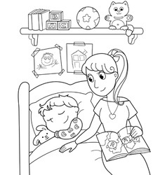 child at bed with mom vector image