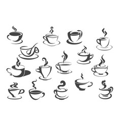 coffee cup and tea mug isolated icon set vector image