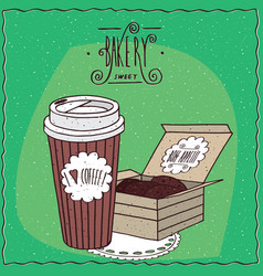 Coffee in paper cup and chocolate cookies in box vector
