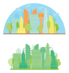 Colorful city silhouette and green city in flat vector