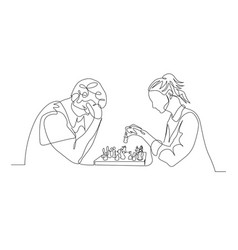 Continuous one line man and woman play chess man vector