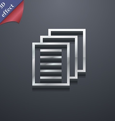 Copy file Duplicate document icon symbol 3D style vector