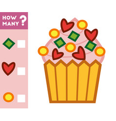 counting game for children count how many cupcake vector image