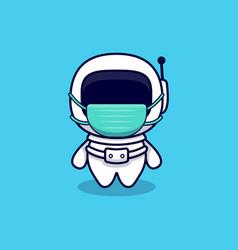 Cute astronaut wearing mask cartoon icon flat vector