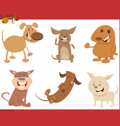 Cute dog characters set vector