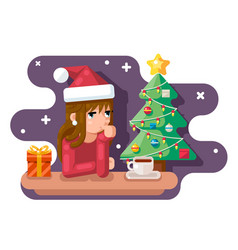 Cute girl wating for new year chrismas tree santa vector