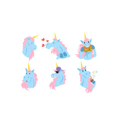 cute unicorns cartoon characters collection funny vector image