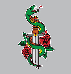 Dagger and snake traditional tattoo vector