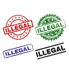 damaged textured illegal seal stamps vector image