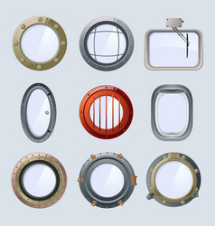 Different round ship and plane portholes vector