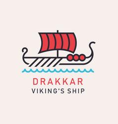 drakkar viking ship vector image