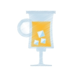 Drawing cocktail glass cup with ice vector