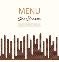 dripping white ice cream flowing over waffle vector image