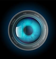 Eye inside camera lens vector