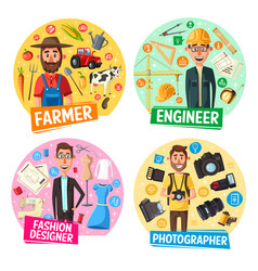 farmer photographer engineer tailor professions vector image