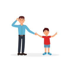 father being tired with his son parenting stress vector image