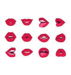 female lips cartoon sexy woman smile open closed vector image