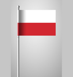 Flag of poland national flag on flagpole vector
