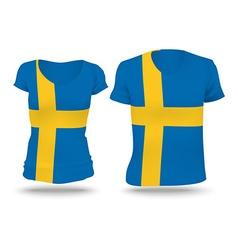 Flag shirt design of Sweden vector image