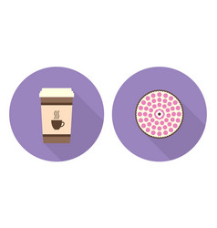 flat cup of coffee and pie vector image