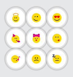 Flat icon emoji set of party time emoticon vector