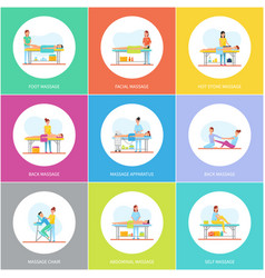 foot facial and hot stones massage icons vector image