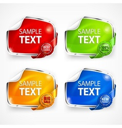 Four stickers vector image