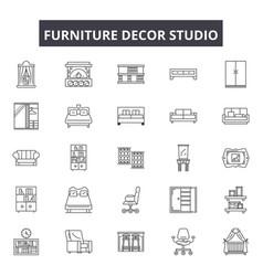 furniture decor studio line icons signs vector image
