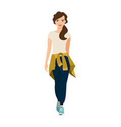 Girl with knitted sweater on waist vector