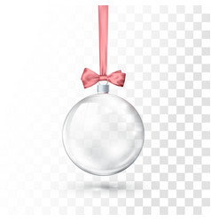 Glass transparent christmas ball hanging on pink vector